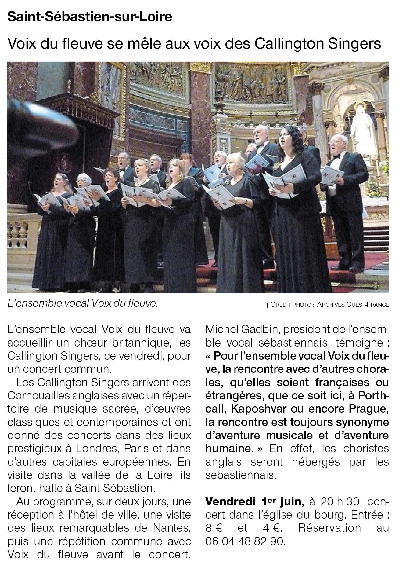 Voix du Fleuve se mêle aux voix des Callington Singers [Ouest France 29-05-2018]