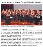 L'Ensemble vocal Voix du Fleuve célèbre les femmes [Ouest France  29-05-2018]